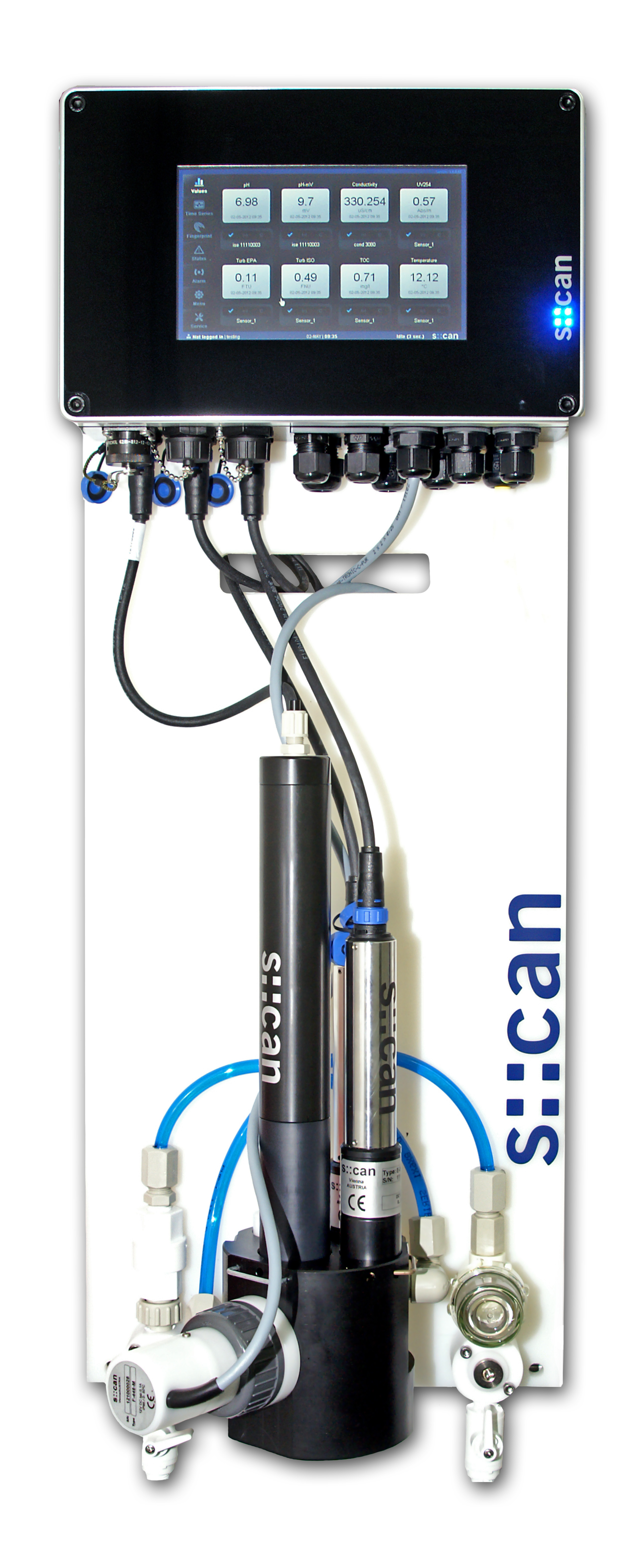 drinking water monitoring station for turbidity, organics,  pH, chlorine and conductivity